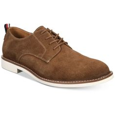 Tommy Hilfiger Men's Garson Oxfords ($80) ❤ liked on Polyvore featuring men's fashion, men's shoes, men's oxfords, chestnut, mens suede oxford shoes, mens oxford shoes, mens suede shoes and mens shoes