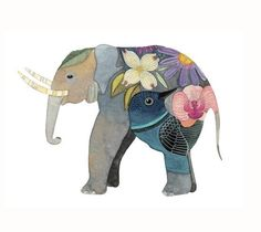 elephant decorated with lovely flowers, pretty as...