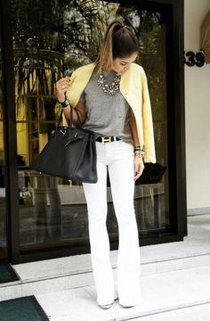 basic t-shirt, structured jacket, boot-cut denim pants, Hermes belt, wedges, structured black bag, black and silver accessories