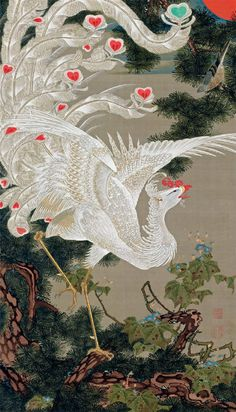 Chinese Silk Scroll Painting Phoenix Home Office Decoration 丹凤朝阳