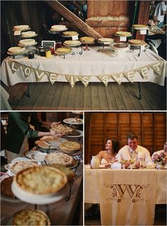 love is sweet banner on the dessert table Yard Wedding, Wedding Events, Rustic Wedding, Weddings, Wedding Desserts, Wedding Cakes, Dessert Table, Candy Table, Pie Dessert
