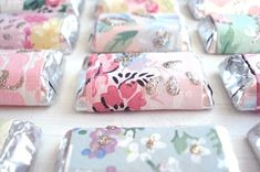 DIY Candy Bar Wrappers Made from Wallpaper. For tutorial see Such Pretty Things  #diy #weddingfavors