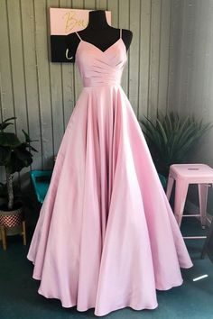 Elegant A-Line Pink Long Prom Dress - Oriel D. Elegant A-Line Pink Long Prom Dress - kleider Prom Dresses Long Pink, Senior Prom Dresses, Pink Party Dresses, Straps Prom Dresses, Simple Prom Dress, Long Prom Gowns, Prom Dresses With Sleeves, Dance Dresses, A Line Prom Dresses