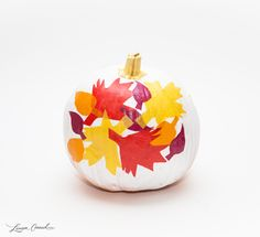 Mod Podge Craft: DIY Fall Leaves Pumpkin for Halloween or Thanksgiving decor