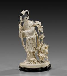 CHINESE IVORY CARVING | 399: Chinese Carved Ivory Beauty & Flowers : Lot 399