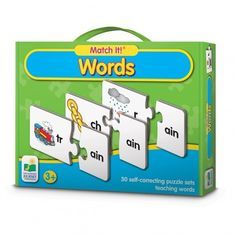 Match It! Words teaches words in an interactive fun way. Each card has two pieces?a picture of an object with its beginning sound and the word ending. By simply matching the object card with the prope