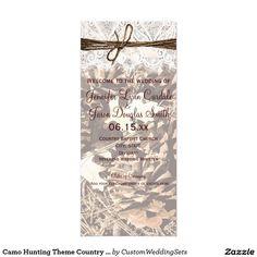 Camo Hunting Theme Country Wedding Programs Rack Card
