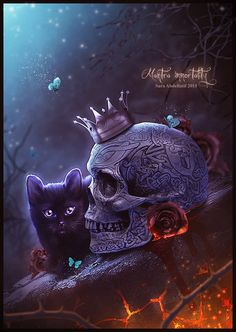 SKULL:Celtic Skull Side View CAT:Kitten I BG:Background 19 BRANCHES:Branch backdrop 01 - thorns of roses FLOWERS:PNG Stock Black Roses CROWN:gold crowns REST PAINTED .  IMPORTANT &#1...