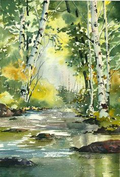 The Miracle Of Painting Landscapes In Watercolor - Ugur Seyman Watercolor Landscape Paintings, Watercolor Trees, Landscape Art, Painting Art, Watercolor Landscape Tutorial, Forest Landscape, Green Watercolor, Watercolor Artists, Painting Lessons