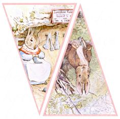 digital peter rabbit banner with pink background,  5 X 7.5 inches, printable download for shower and nursery decor, no. 525