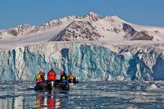 Getting up close to Lillihookbreen Glacier in Spitsbergen, Arctic.  #helloworldRELAY #adventure #AuroraExpeditions #Arctic #Spitsbergen