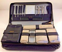 Vintage West German Luxury Black Leather Bathroom Toiletry Travel Bag Kit #Unbranded