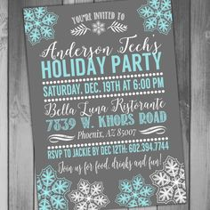 Printable Christmas Party Invitation Holiday Card by CLaceyDesign