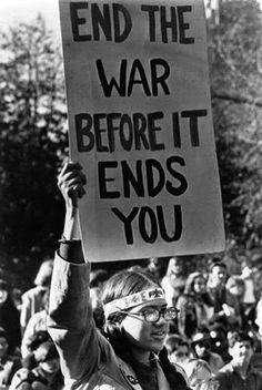 Hippie protesting the Vietnam War, ca. 1960s. More