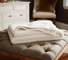 Faux Sheepskin Throw #potterybarn Chenille-Knit Sherpa Blanket #potterybarn white cream ivory throw great space bed couch sofa