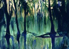 Old Southern Swamp, by Genevieve Cseh  #art #painting