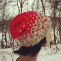 Hand Knit Hat Womens Chunky Ombre Slouch Hat - Oatmeal and Bright Red - MADE TO ORDER