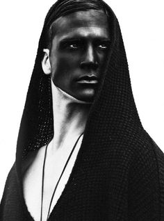 Black and white conceptual art make up. Male couture man editorial men high fashion