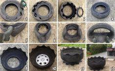 Voici un petit tutoriel qui vous montre comment créer un pot de fleur original avec un vieux pneu de voiture(ou camion) !        Intéressant...