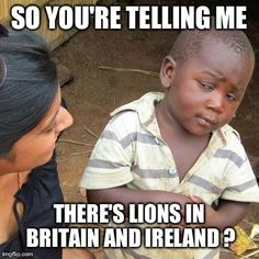 Doubtful African boy considers the British Irish Lions rugby team -  For the best rugby gear check out http://alwaysrugby.com