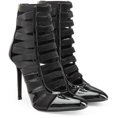 Tamara Mellon Patent Leather/Suede Corset Booties (6.540 VEF) ❤ liked on Polyvore featuring shoes, boots, ankle booties, black, strappy booties, black strappy stilettos, black suede boots, suede ankle booties and black boots