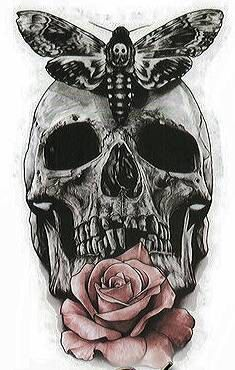 Check out this item in my Etsy shop https://www.etsy.com/listing/289238351/skull-rose-temporary-black-tattoo
