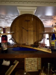 Handcrafted Wine head Clock made from a Wine Barrel - truly, one of a kind. Geneva, Ohio