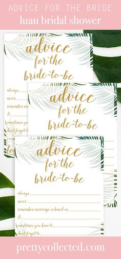 Advice for the Bride-To-Be (Statements) - Tropical Printable - Luau bridal shower ideas! Advice for the Bride-To-Be (Statements) – Tropical Printable – Pretty - Luau Bridal Shower, Bridal Shower Advice, Bridal Shower Planning, Summer Bridal Showers, Tropical Bridal Showers, Bride Shower, Unique Bridal Shower, Bridal Shower Gifts, Bridal Shower Invitations