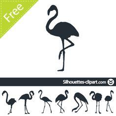 silhouette vector flamingo