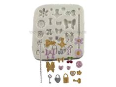 Tiny Decorations Design Sugarcaft Mould made out of silicone.  This mould is soft and pliable and possesses inherently good rele