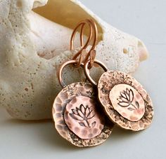 Copper Lotus Earrings, Rustic Jewelry, Metal Jewelry, Copper Jewelry, Rustic Earrings, Stamped Metal Jewelry, Yoga Jewelry. $31.00, via Etsy.