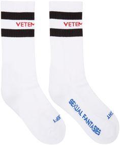 Vetements White 'Sexual Fantasies' Socks