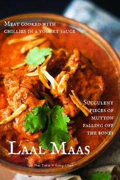 This Laal Maas recipe is my easy rendition of a classic meat delicacy - the traditional Rajasthani Laal Maas with succulent mutton pieces falling off the bones! Laal maas is a mutton curry spiced with dry chillies and cooked in a yogurt base. Lamb Shank Recipe, Comida India, Dried Chillies, Braised Lamb, Curry Spices, Indian Food Recipes, Ethnic Recipes, Spicy Chili, Star Food