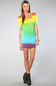 Jolene Dress in Rainbow Fade by Motel, Get 20% off your order with Rep Code: PAMM6 at karmaloop .com