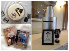 Pittsburgh Penguin grooms cake, Stanley Cup wedding gift card box and authentic hockey trading cards. A perfect sports themed wedding idea. Check out these and other details at DJ Rockin Steve.    http://djrockinsteve.com/content.php?344-A-Kiss-To-Build-A-Dream-On-Marie-and-Javan-s-Sports-Theme-Wedding