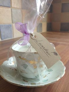 Teacup candle with lavender essential oil. Favour?