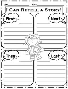 """""""First, Next, Then, Last"""" space themed worksheet. (with and without lines)"""