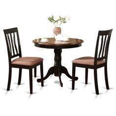East West Furniture ANTI3 BLK C 3 Piece Kitchen Table Set, Black