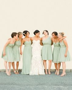 If your bridesmaids all have to be in the same colour, let them choose cuts and accessories that suit their body types, instead of having it be uniform.