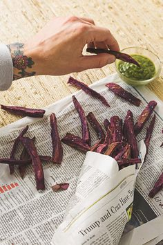 Baked Purple Sweet Potato Fries - naturally dairy-free, gluten-free, plant-based & healthy!