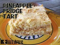 Quick and simple recipe for traditional South African Pineapple Fridge Tart – enjoy! Ingredients 2 Packets Tennis biscuits (coconut biscuits) 1 Tin Crushed pineapple (or pineapple pieces) 1 Tin Ideal … South African Desserts, South African Dishes, South African Recipes, Africa Recipes, Ethnic Recipes, Tart Recipes, Sweet Recipes, Dessert Recipes, Cooking Recipes