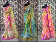 designer sarees – Page 2 Indian Wedding Sari, Indian Bridal Lehenga, Indian Beauty Saree, Indian Sarees, Indian Weddings, Shibori Sarees, Georgette Sarees, Floral Print Sarees, Printed Sarees