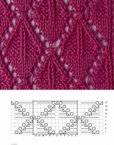 Knitting pattern ❤ Узор спицами ❤ strickmuster ❤ tricot ❤ how to knit ❤ tricô ❤ örgü deseni बुनना Lace Knitting Stitches, Lace Knitting Patterns, Knitting Charts, Lace Patterns, Easy Knitting, Stitch Patterns, Gilet Crochet, Knitting Projects, Drops Design