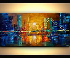 Canvas Art, Modern Wall Art, Stretched, Embellished & Ready-to-Hang Print - The Bridge - Art by Osnat Bridge Painting, City Painting, Abstract City, Cityscape Art, City Art, Texture Painting, Painting Inspiration, Canvas Art, Palette Knife