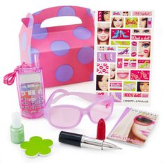 Barbie All Doll'd Up Party Favor Kit - The Barbie All Dolld Up Party Favor Kit for 1 guest includes: (1) Empty Favor Box*, (1) Barbie Notepad, (1) Barbie Glitter Sunglasses Assorted, (1) Lipstick Pen Assorted*, (1) Cellphone Lip Gloss*, (1) Nail Polish Kit*, (1) Barbie Sticker Sheet.  These Barbie products are officially licensed by (c) Mattel, Inc. * Please Note: These items (*) are not officially licensed.
