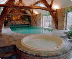 Traditional home plans with beautiful indoor #swimming #pool  and round shape bathtub
