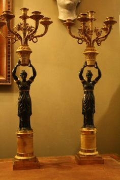 Pair of Empire period candelabras. H.72cm