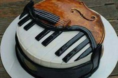 This cake was originally made as a cello/piano cake for the piano guys. My mom had a bakery make it for me since i play cello and piano! It was the coolest cake ever! Music Themed Cakes, Music Cakes, Fancy Cakes, Cute Cakes, Beautiful Cakes, Amazing Cakes, Violin Cake, Bolo Musical, Piano Cakes