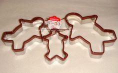 Set de 3 emporte-pièces - Les hommes en pain d'épice. Fabriqué en inox (avec coloré, Antidérapant en haut)  (utiliser pour faire des biscuits, coupez les fruits ou légumes)  Pour acheter cliquez sur le lien eBay boutique.