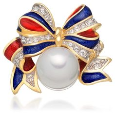 Ann Hand upscale patriotic jewelry to wear all year long. The Glory Pin is one of our most popular patriotic pins with a delicate red and blue enameled bow,...